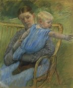 Mary Cassatt - Mathilde Holding A Baby Who Reaches Out To The Right 1889