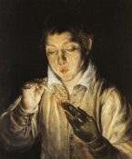 El Greco - Boy Blowing On An Ember To Light A Candle