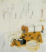 Hokusai - A Pillow And A Painting Of The Treasure Ship