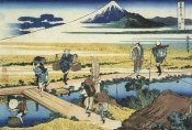 Hokusai - A View Of Mount Fuji And Travelers By A Bridge At Nakahara 1835