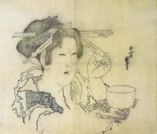 Hokusai - A Woman With A Teacup 1816