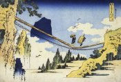 Hokusai - Farmers Crossing A Suspension Bridge