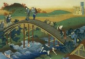 Hokusai - People Crossing An Arched Bridge