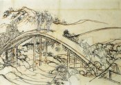 Hokusai - People Crossing An Arched Bridge II