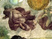 Michelangelo - The Creation Of Heavenly Bodies God Creating The Moon And Sun Detail