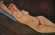 Amedeo Modigliani - Reclining Nude Blue Cushion