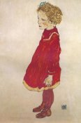 Egon Schiele - Little Girl With Blond Hair In Red Dress