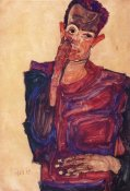 Egon Schiele - Self Portrait With Hand To Cheek