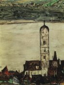 Egon Schiele - Stein On The Danube From The Kreuzberg 1913