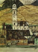 Egon Schiele - Stein On The Danube From The South 1913