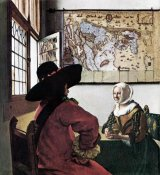 Johannes Vermeer - Soldier And Young Girl Smiling