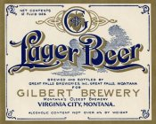 Vintage Booze Labels - Gilbert Brewery Lager Beer