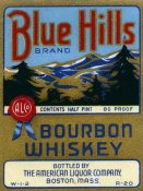 Vintage Booze Labels - Blue Hills Bourbon Whiskey