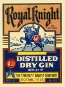 Vintage Booze Labels - Royal Knight Distilled Dry Gin