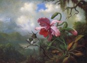 Martin Johnson Heade - Orchid And Hummingbirds Near A Mountain Lake