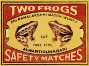 Phillumenart - Two Frogs Safety Matches