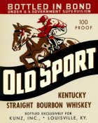 Vintage Booze Labels - Old Sport Kentucky Straight Bourbon Whiskey