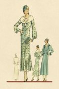Vintage Fashion - Daytime Dress in Fern with Overcoat