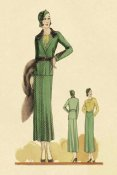 Vintage Fashion - Sophisticated Green Suit with Stole