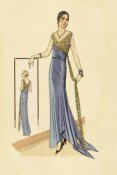 Vintage Fashion - Evening Gown in Blue and Gold