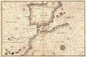 Battista Agnese - Portolan or Navigational Map of the Spain, Gibraltar & North Africa