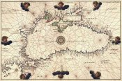 Battista Agnese - Portolan or Navigational Map of the Black Sea showing anthropomorphic winds