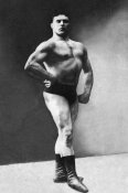 Vintage Muscle Men - Bodybuilder's Shadowed Front and Partial Right Profile