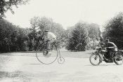 Unknown - Motorcycle cop chases a Penny Farthing Velocipede