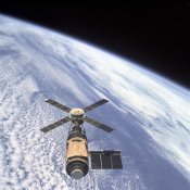 NASA - Skylab Orbital Workshop, viewed from Skylab 4 CSM, 1974