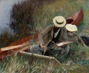 John Singer Sargent - Paul Helleu Sketching with His Wife, An Out-of-Doors Study, 1889