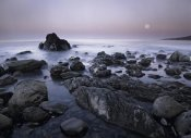 Tim Fitzharris - Full moon over boulders at El Pescador State Beach, Malibu, California