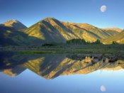 Tim Fitzharris - Moon and Twin Peaks reflected in lake, Colorado