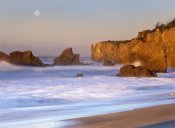 Tim Fitzharris - Seastacks and full moon at El Matador Beach, California
