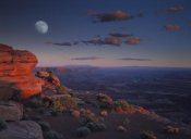 Tim Fitzharris - Moon over Canyonlands National Park from Green River Overlook, Utah