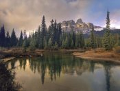 Tim Fitzharris - Castle Mountain and boreal forest reflected in lake, Alberta, Canada