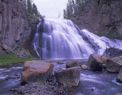 Tim Fitzharris - Gibbon Falls cascading into river, Yellowstone National Park, Wyoming