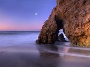 Tim Fitzharris - Sea arch and full moon over El Matador State Beach, Malibu, California