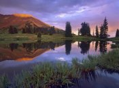 Tim Fitzharris - Mount Baldy at sunset reflected in lake along Paradise Divide, Colorado