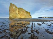 Tim Fitzharris - Coastline and Perce Rock, a limestone formation, at low tide, Quebec, Canada