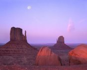 Tim Fitzharris - East and West Mittens, buttes at sunrise with full moon, Monument Valley, Arizona