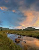 Tim Fitzharris - Sunset over river and peaks in Moraine Park, Rocky Mountain National Park, Colorado