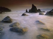 Tim Fitzharris - Sea stack and rocks along shoreline at Ruby Beach, Olympic National Park, Washington