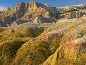 Tim Fitzharris - Eroded buttes showing layers of sedimentary rock, Badlands National Park, South Dakota