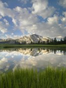 Tim Fitzharris - Mammoth Peak and scattered clouds reflected in lake, Yosemite National Park, California