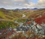 Tim Fitzharris - River flowing through tundra, Ogilvie Mountains, Tombstone Territorial Park, Yukon, Canada