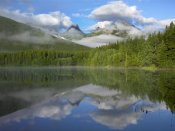 Tim Fitzharris - Fortress Mountain shrouded in clouds, reflected in lake, Kananaskis Country, Alberta, Canada