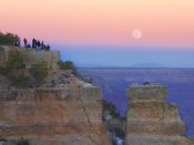 Tim Fitzharris - Tourists enjoying sunset and rising full moon at Yaki Point, Grand Canyon National Park, Arizona