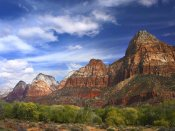Tim Fitzharris - The Watchman, outcropping near south entrance of Zion National Park, cottonwoods in foreground, Utah