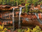 Tim Fitzharris - Cascades tumbling 110 feet at Emerald Pools, Zion National Park, Utah