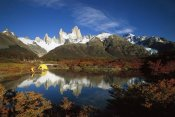 Colin Monteath - Camp beside small pond below Fitzroy, autumn, Los Glaciares National Park, Patagonia, Argentina